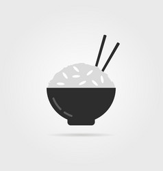 Black rice icon with chopsticks vector