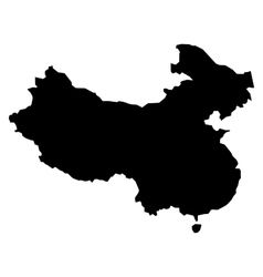 Black silhouette map of China vector