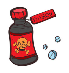 bottle with poison colored button with a black vector image