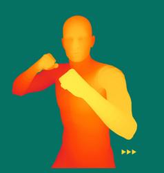boxer 3d model of man human body sport symbol vector image