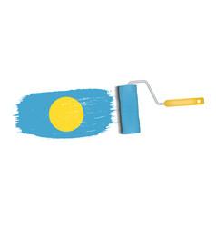 brush stroke with palau national flag isolated on vector image