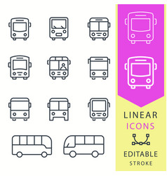 Bus - line icon set editable stroke vector