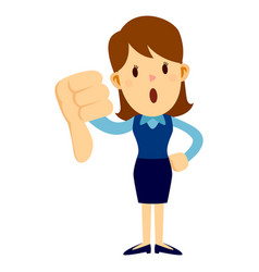 Business woman with her thumbs down hand sign vector