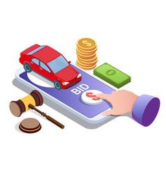car auction online concept for web banner vector image