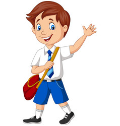 cartoon school boy in uniform waving vector image