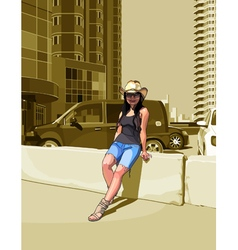 Cartoon woman in a cowboy hat among high rise vector