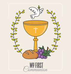 Chalice and white dove vector