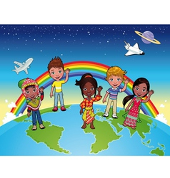 children on world vector image