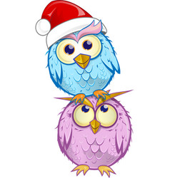christmas group owl cartoon isolated on white vector image