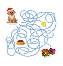 Christmas way game help puppy pass maze vector