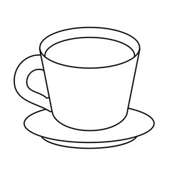 Coffee cup plate thin line vector