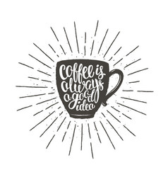 coffee cup silhouette with lettering and sunrays vector image