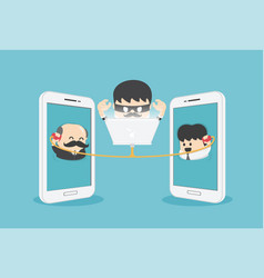 concept cartoon two businessmen who contacted vector image