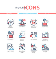 Coronavirus disease - line design style icons set vector
