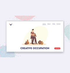 Creative occupation landing page template vector