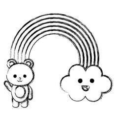 Cute rainbow with cloud and teddy kawaii vector