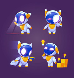 cute robot character in different poses vector image