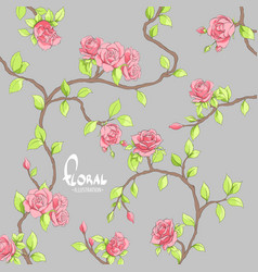 Delicate roses on a dark background vector