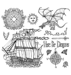 design set with sailing vessel dragon compass vector image