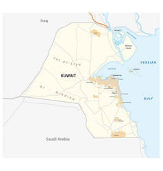 Detailed road map state kuwait vector