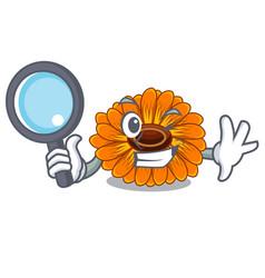 Detective calendula flowers in a cartoon basket vector