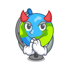 Devil globe mascot cartoon style vector