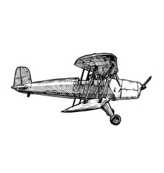 drawing airplane stylized as engraving vector image