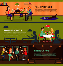 Eating people horizontal banners vector