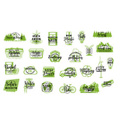 Eco energy green leaf light bulb recycle icons vector