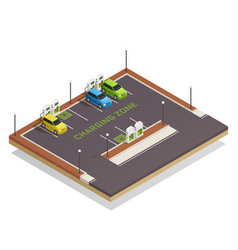 ecology isometric electric vehicles charging vector image