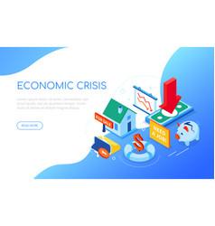 economic crisis - modern colorful isometric web vector image
