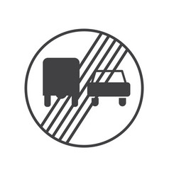 end of the prohibition of trucks sign vector image