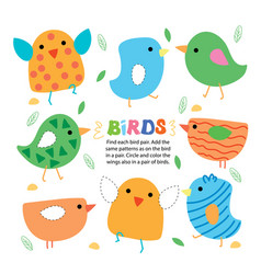 find bird pair picture kid game printable template vector image