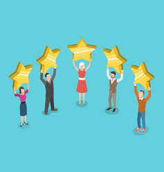 Five stars rating flat isometric concept vector