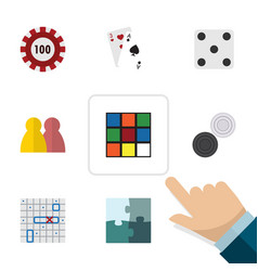 Flat icon play set of ace people cube and other vector