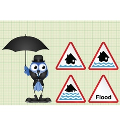 Flood warning sign collection vector