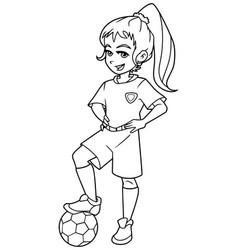 football girl standing line art vector image