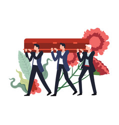 Funeral ceremony people carrying wooden coffin vector