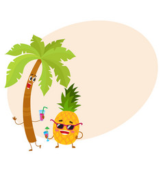 funny pineapple and tropic palm characters holding vector image