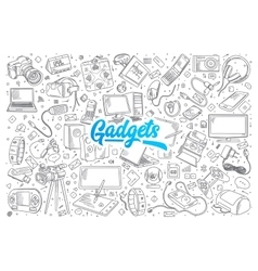 Gadgets doodle set with lettering vector image