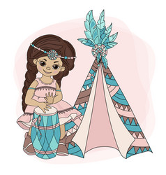 girl wigwam pocahontas indian princess illu vector image