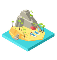 girls relax and work on island beach vector image