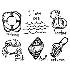Graphic drawings of marine animals imitation of vector