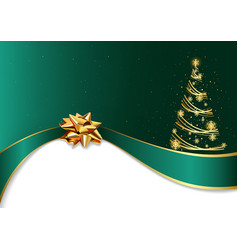 Green christmas background with golden bow vector