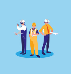 group of workers industrials avatar character vector image