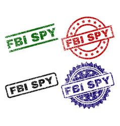 Grunge textured fbi spy stamp seals vector