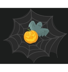 Halloween Poster with pumpkin web and ghost vector