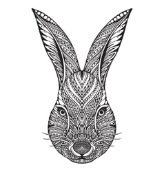 hand drawn graphic ornate head rabbit vector image