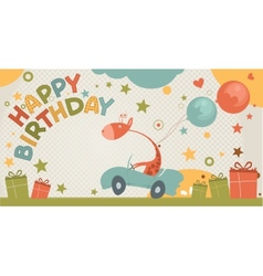 Happy birthday card with giraffe vector