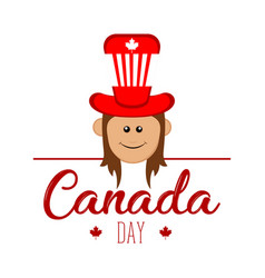 happy girl with a party hat canada day vector image